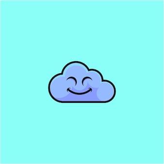 Illustrazione di cartone animato carino nuvola sorridente