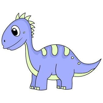 Simpatico dinosauro sorridente animale bambino, immagine icona scarabocchio. personaggio dei cartoni animati carino doodle disegnare