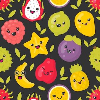 Frutta esotica sorridente sveglia, modello senza cuciture su sfondo scuro. ideale per tessuti, carta da imballaggio