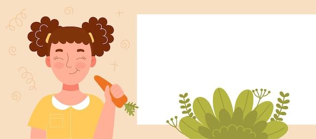 Ragazza sorridente sveglia che mangia una mela. merenda scolastica, cibo sano, dieta a base di frutta, vitamine per bambini. banner per sito web. spase per testo, modello. illustrazione di riserva del fumetto di vettore piatto