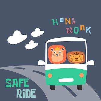 Carino sorridente felice leone sul bus. stile bambini