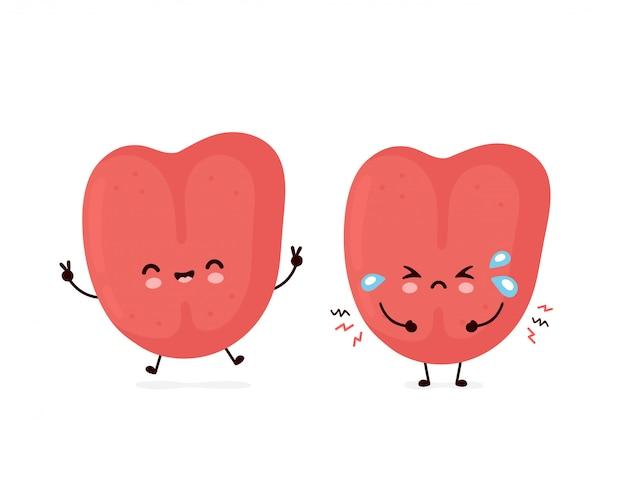 Lingua umana ammalata felice e triste sorridente sveglia. personaggio dei cartoni animati piatto illustration.isolated su sfondo bianco. concetto di carattere della lingua umana