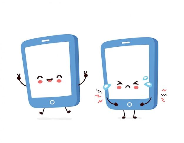 Smartphone felice e triste sorridente sveglio
