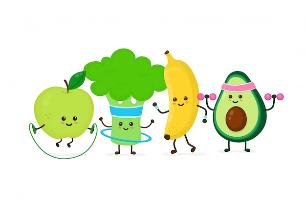 L'avocado forte felice sorridente sveglio fa la palestra con le teste di legno, il salto della mela con la corda, la corsa della banana, i broccoli con il hula-hoop. icona piana dell'illustrazione del personaggio dei cartoni animati. gym, nutrizione di forma fisica