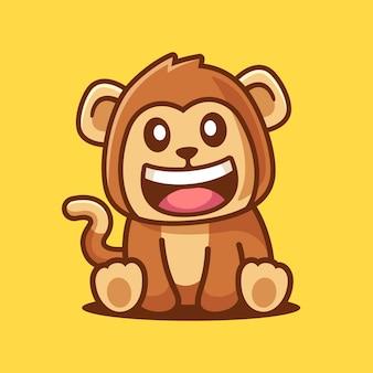 Simpatico cartone animato sorridente scimmia seduto