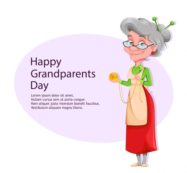 Donna anziana sorridente sveglia. felice giorno dei nonni