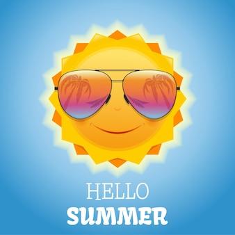 Sole sorridente sveglio in occhiali da sole. disegno estivo. le palme si riflettono negli occhiali da sole. ciao estate. illustrazione