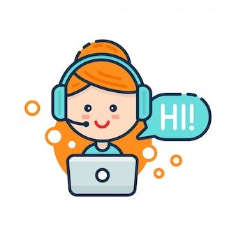 Donna sorridente sveglia nella call center. supporto vocale, concetto di supporto virtuale in linea