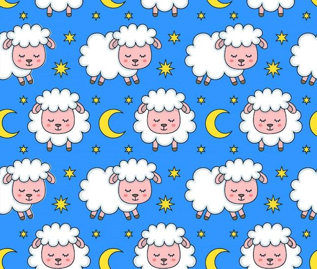 Modello senza cuciture delle pecore addormentate divertenti di smilng sveglio