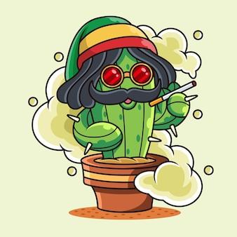 Illustrazione sveglia dell'icona del cactus del fumo. concetto di icona di pianta con posa divertente