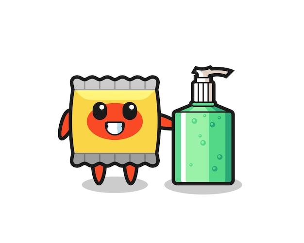 Simpatico cartone animato snack con disinfettante per le mani, design in stile carino per maglietta, adesivo, elemento logo