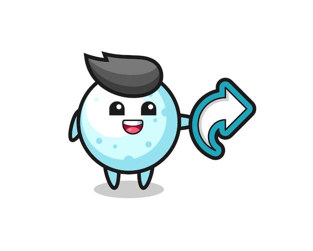La simpatica palla di neve tiene il simbolo della condivisione dei social media, il design in stile carino per la maglietta, l'adesivo, l'elemento del logo