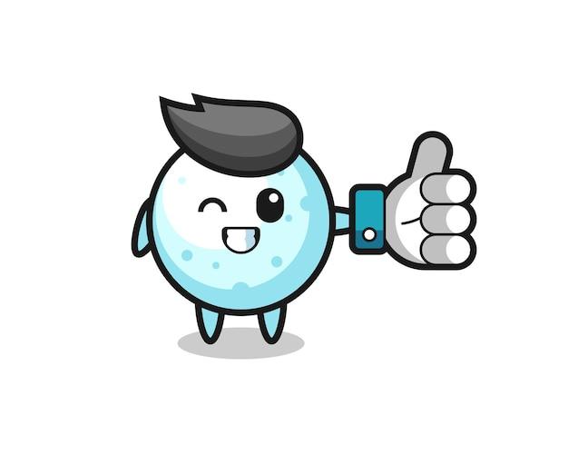 Simpatica palla di neve con simbolo del pollice in alto sui social media, design in stile carino per t-shirt, adesivo, elemento logo
