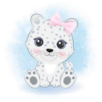 Acquerello animale artico del fumetto sveglio del leopardo delle nevi
