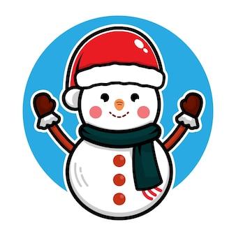 Concetto di vettore di natale dell'illustrazione del personaggio dei cartoni animati sveglio del pupazzo di neve