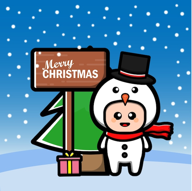 Simpatico cartone animato pupazzo di neve con albero e regalo