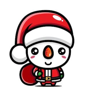 Simpatico pupazzo di neve che celebra il natale