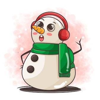 Simpatico personaggio pupazzo di neve con illustrazione di paraorecchie