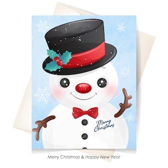 Simpatico pupazzo di neve per natale con illustrazione dell'acquerello