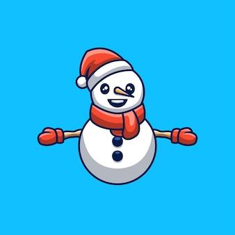 Simpatico pupazzo di neve creativo natale mascotte dei cartoni animati logo