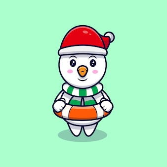 Illustrazione sveglia del fumetto della mascotte del giubbotto di salvataggio e del pupazzo di neve.