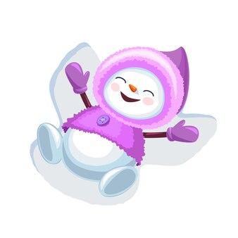 Simpatico pupazzo di neve che fa l'angelo della neve