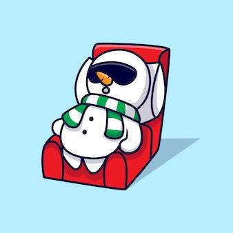 Simpatico pupazzo di neve dormire sul divano mascotte cartoon illustrazione.