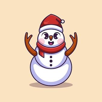 Simpatico pupazzo di neve con cappello di babbo natale cartone animato