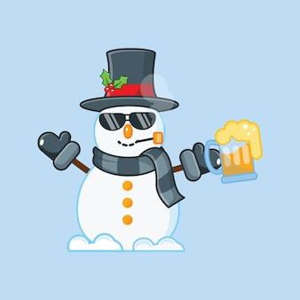 Simpatico pupazzo di neve con fumo e birra. illustrazione di natale.