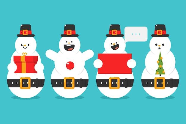 Simpatici pupazzi di neve del fumetto personaggi divertenti insieme isolato su sfondo.