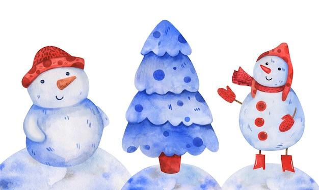 Simpatici pupazzi di neve disegnati a mano in acquerello con un albero di natale.