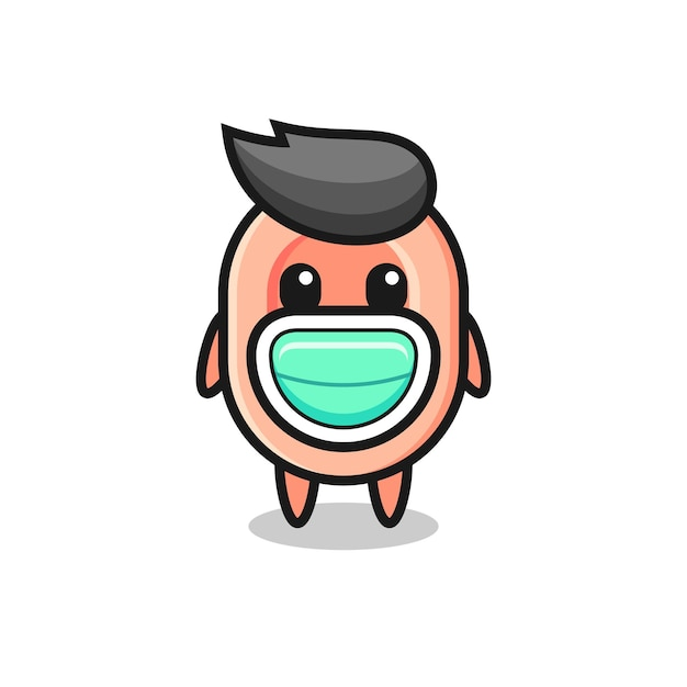 Simpatico cartone animato di sapone che indossa una maschera, design in stile carino per maglietta, adesivo, elemento logo