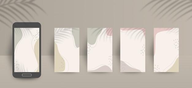 Carino social media storie modello di sfondo con i colori dei toni della terra