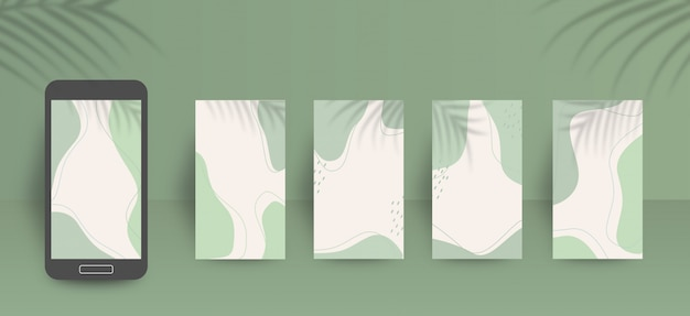 Modello di sfondo carino social media storie con morbidi colori verdi