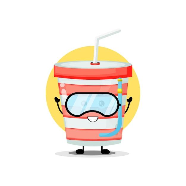 Simpatico personaggio della tazza di soda che indossa occhialini da nuoto