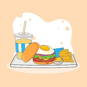 Illustrazione sveglia dell'icona della bevanda analcolica, dell'hamburger, delle patatine fritte e della senape. concetto dell'icona di fast food. stile cartone animato