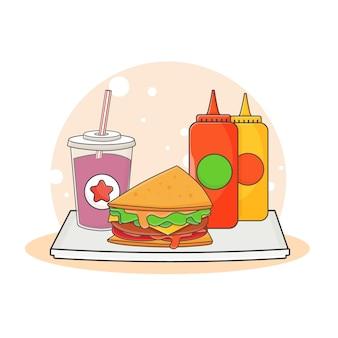 Illustrazione sveglia dell'icona della bevanda analcolica, del panino, della salsa di ketchup e della senape. concetto dell'icona di fast food. stile cartone animato