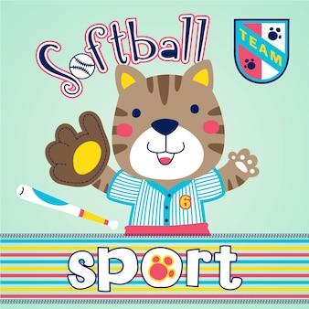 Cartone animato carino giocatore di softball