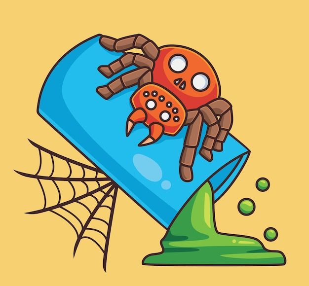 Ragno carino sul vetro con ragnatela animale del fumetto isolato illustrazione di halloween stile piatto