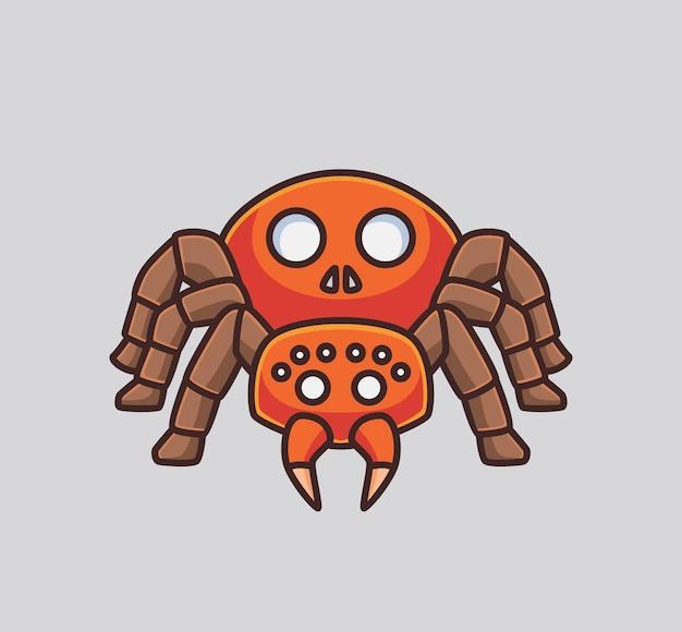 Ragno carino. illustrazione animale del concetto di halloween del fumetto isolato. stile piatto adatto per sticker icon design premium logo vettoriale. personaggio mascotte