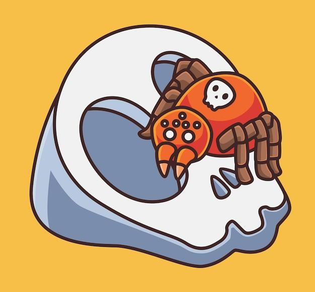 Ragno carino su un teschio animale del fumetto isolato illustrazione di concetto di halloween stile piatto