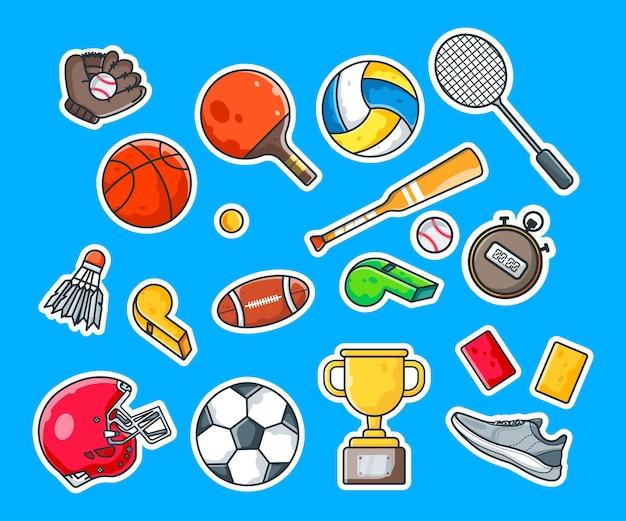 Pacchetto di simpatici adesivi per cartoni animati sportivi