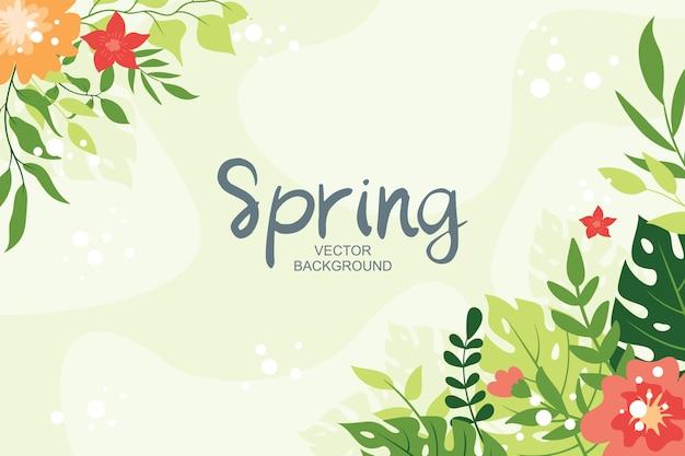 Sfondo carino primavera con foglie tropicali ed elementi floreali, stile semplice e alla moda