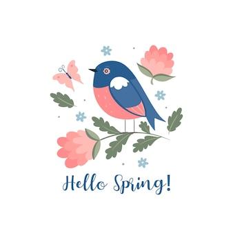 Uccello carino primavera.