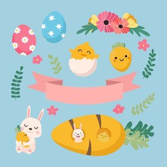 Simpatico coniglietto primaverile e insieme di raccolta pulcino.