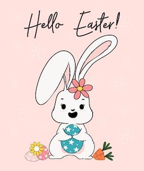 Simpatico coniglietto di primavera abbraccia l'uovo di pasqua con cesto di carote e un'ape. happy spring easter, cute cartoon doodle drawing illustration