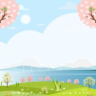 Campo di primavera carino in riva al mare con mulino a vento e fiori di ciliegio.