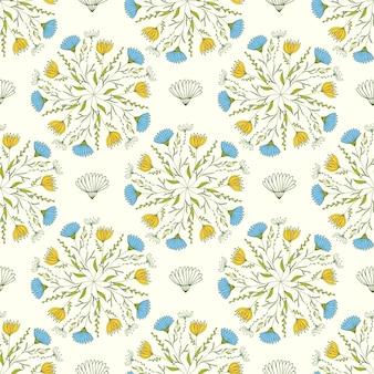Carino primavera modello con fiori blu e gialli. illustrazione vettoriale.