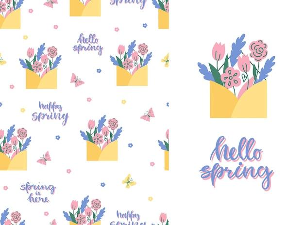 Simpatico motivo primaverile senza cuciture con fiori, farfalle e testo biglietto di auguri hello spring