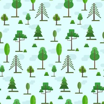 Simpatico motivo di alberi forestali piatti primaverili o estivi